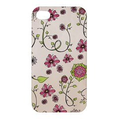 Pink Whimsical Flowers On Beige Apple Iphone 4/4s Hardshell Case by Zandiepants