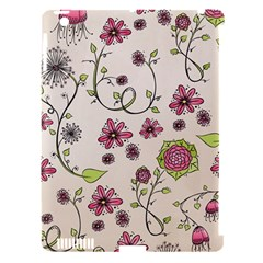 Pink Whimsical Flowers On Beige Apple Ipad 3/4 Hardshell Case (compatible With Smart Cover) by Zandiepants