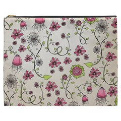 Pink Whimsical Flowers On Beige Cosmetic Bag (xxxl)