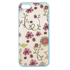 Pink Whimsical Flowers On Beige Apple Seamless Iphone 5 Case (color) by Zandiepants