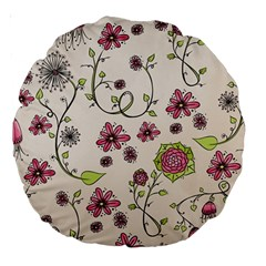 Pink Whimsical Flowers On Beige 18  Premium Round Cushion  by Zandiepants