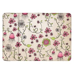 Pink Whimsical Flowers On Beige Samsung Galaxy Tab 8 9  P7300 Flip Case by Zandiepants