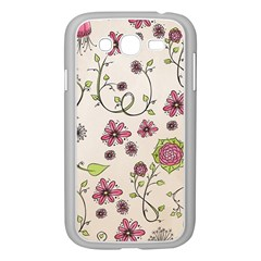 Pink Whimsical Flowers On Beige Samsung Galaxy Grand Duos I9082 Case (white) by Zandiepants