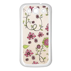 Pink Whimsical Flowers On Beige Samsung Galaxy S3 Back Case (white)