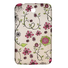 Pink Whimsical Flowers On Beige Samsung Galaxy Tab 3 (7 ) P3200 Hardshell Case  by Zandiepants
