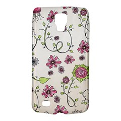 Pink Whimsical Flowers On Beige Samsung Galaxy S4 Active (i9295) Hardshell Case by Zandiepants