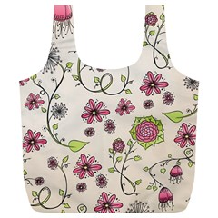 Pink Whimsical Flowers On Beige Reusable Bag (xl) by Zandiepants