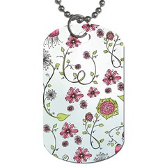 Pink Whimsical Flowers On Blue Dog Tag (one Sided) by Zandiepants