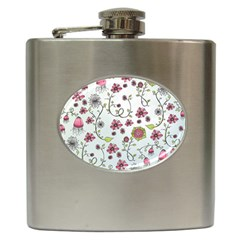 Pink Whimsical Flowers On Blue Hip Flask by Zandiepants