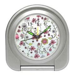 Pink Whimsical Flowers On Blue Desk Alarm Clock by Zandiepants