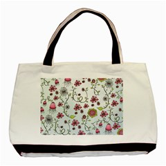 Pink Whimsical Flowers On Blue Classic Tote Bag by Zandiepants