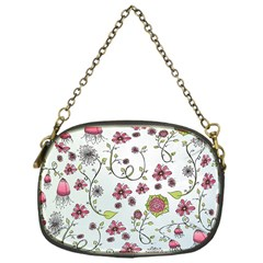 Pink Whimsical Flowers On Blue Chain Purse (one Side) by Zandiepants