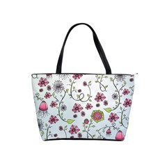 Pink Whimsical Flowers On Blue Large Shoulder Bag by Zandiepants