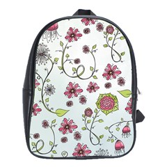 Pink Whimsical Flowers On Blue School Bag (large) by Zandiepants
