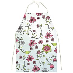 Pink Whimsical Flowers On Blue Apron by Zandiepants