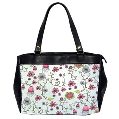 Pink Whimsical Flowers On Blue Oversize Office Handbag (two Sides) by Zandiepants