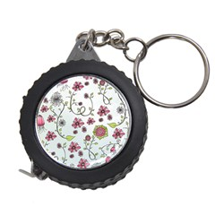 Pink Whimsical Flowers On Blue Measuring Tape by Zandiepants
