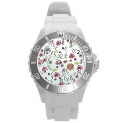 Pink Whimsical Flowers On Blue Plastic Sport Watch (large) by Zandiepants