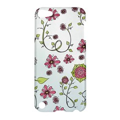 Pink Whimsical Flowers On Blue Apple Ipod Touch 5 Hardshell Case by Zandiepants