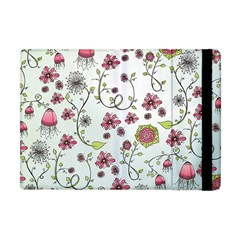 Pink Whimsical Flowers On Blue Apple Ipad Mini Flip Case by Zandiepants