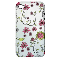 Pink Whimsical Flowers On Blue Apple Iphone 4/4s Hardshell Case (pc+silicone) by Zandiepants