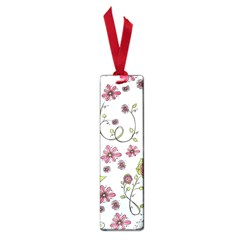 Pink Whimsical Flowers On Blue Small Bookmark by Zandiepants