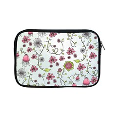 Pink Whimsical Flowers On Blue Apple Ipad Mini Zippered Sleeve by Zandiepants