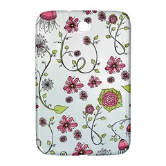 Pink Whimsical Flowers On Blue Samsung Galaxy Note 8 0 N5100 Hardshell Case  by Zandiepants