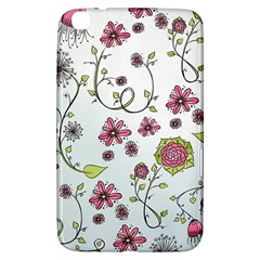 Pink Whimsical Flowers On Blue Samsung Galaxy Tab 3 (8 ) T3100 Hardshell Case  by Zandiepants