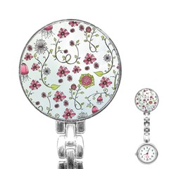 Pink Whimsical Flowers On Blue Stainless Steel Nurses Watch by Zandiepants
