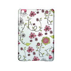 Pink Whimsical Flowers On Blue Apple Ipad Mini 2 Hardshell Case by Zandiepants