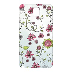 Pink Whimsical Flowers On Blue Samsung Galaxy Note 3 N9005 Hardshell Back Case by Zandiepants
