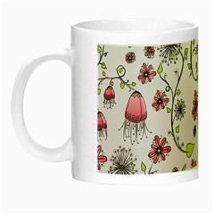 Pink Whimsical Flowers On Pink Glow In The Dark Mug by Zandiepants