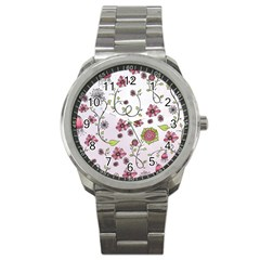 Pink Whimsical Flowers On Pink Sport Metal Watch by Zandiepants