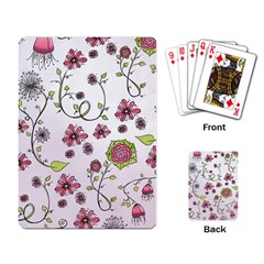 Pink Whimsical Flowers On Pink Playing Cards Single Design by Zandiepants