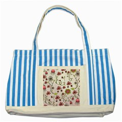 Pink Whimsical Flowers On Pink Blue Striped Tote Bag by Zandiepants