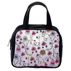 Pink Whimsical Flowers On Pink Classic Handbag (one Side) by Zandiepants