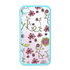 Pink Whimsical Flowers On Pink Apple Iphone 4 Case (color) by Zandiepants