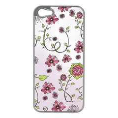 Pink Whimsical Flowers On Pink Apple Iphone 5 Case (silver) by Zandiepants