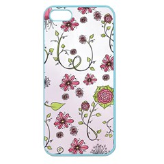 Pink Whimsical Flowers On Pink Apple Seamless Iphone 5 Case (color) by Zandiepants
