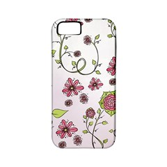Pink Whimsical Flowers On Pink Apple Iphone 5 Classic Hardshell Case (pc+silicone) by Zandiepants