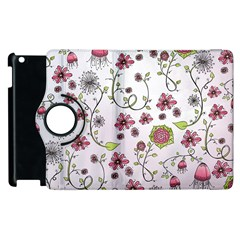 Pink Whimsical Flowers On Pink Apple Ipad 3/4 Flip 360 Case by Zandiepants