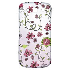 Pink Whimsical Flowers On Pink Samsung Galaxy S3 S Iii Classic Hardshell Back Case by Zandiepants