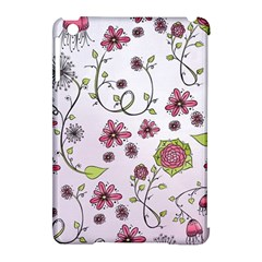 Pink Whimsical Flowers On Pink Apple Ipad Mini Hardshell Case (compatible With Smart Cover) by Zandiepants