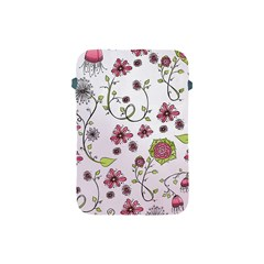 Pink Whimsical Flowers On Pink Apple Ipad Mini Protective Sleeve by Zandiepants