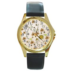 Yellow Whimsical Flowers  Round Leather Watch (gold Rim)  by Zandiepants