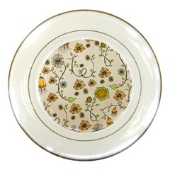Yellow Whimsical Flowers  Porcelain Display Plate by Zandiepants
