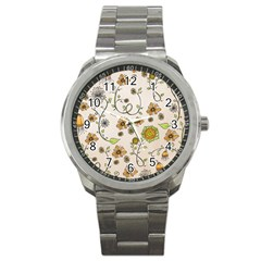 Yellow Whimsical Flowers  Sport Metal Watch by Zandiepants