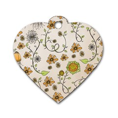 Yellow Whimsical Flowers  Dog Tag Heart (two Sided) by Zandiepants