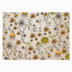 Yellow Whimsical Flowers  Glasses Cloth (large, Two Sided) by Zandiepants
